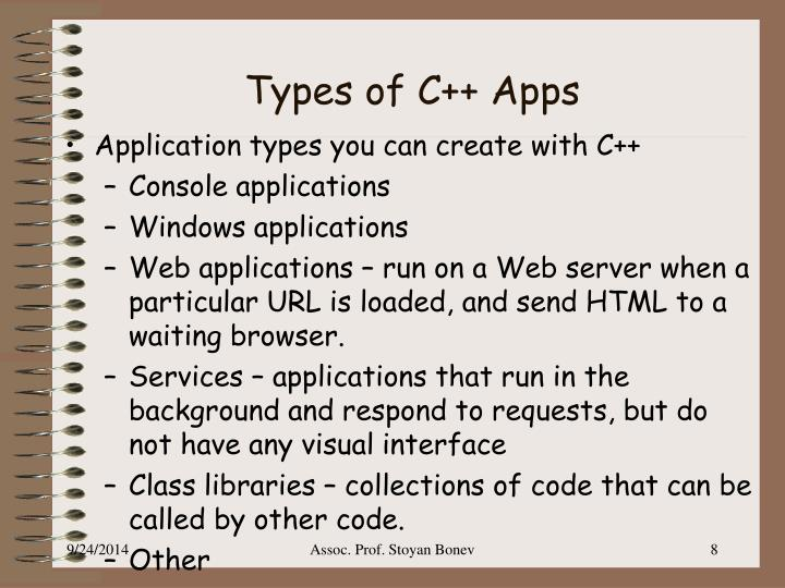 Types of C++ Apps