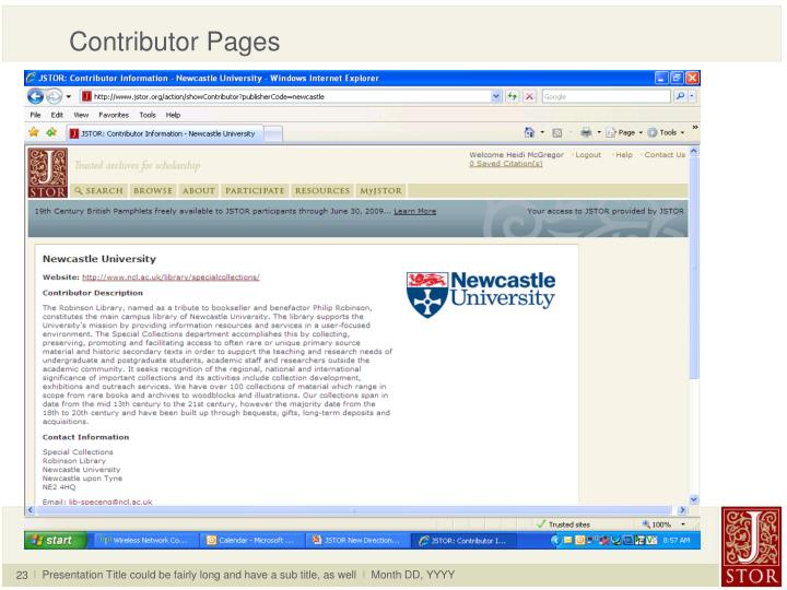 Contributor Pages