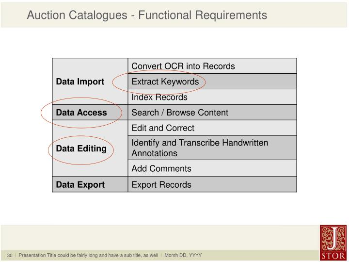 Auction Catalogues - Functional Requirements