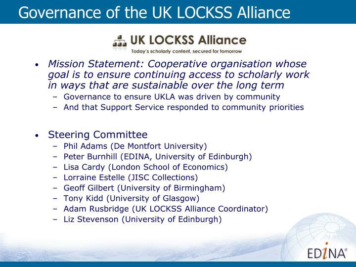 Governance of the uk lockss alliance