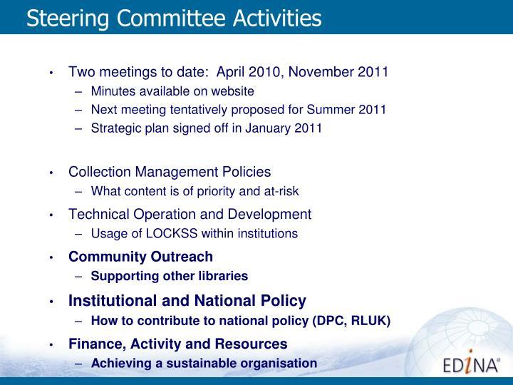 Steering Committee Activities