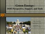 green energy doe perspective support and tools