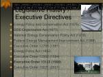 legislative history executive directives