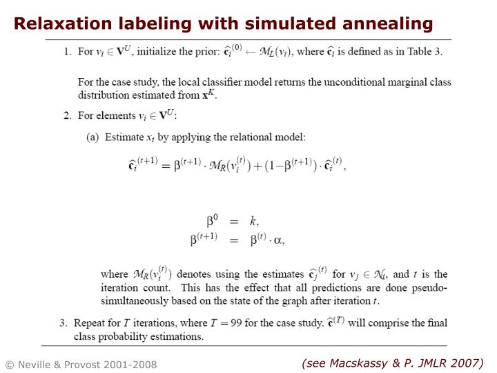 Relaxation labeling with simulated annealing
