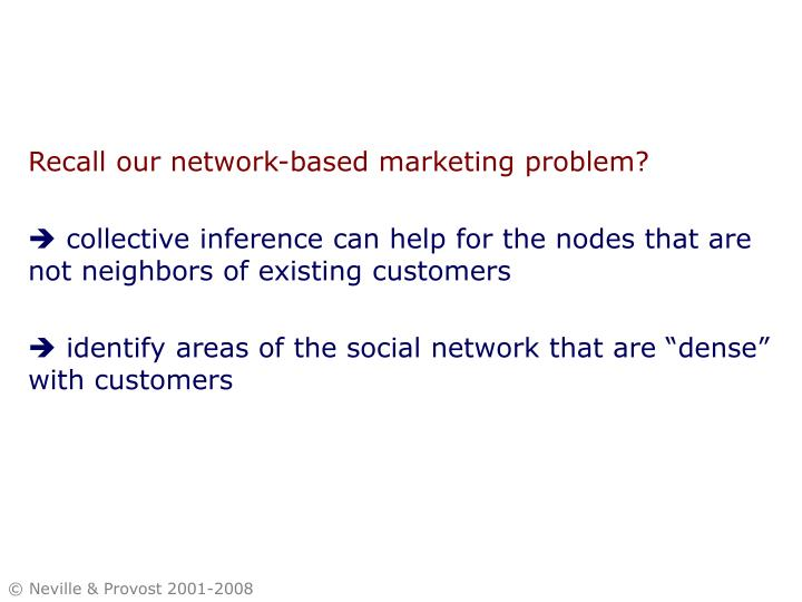 Recall our network-based marketing problem?