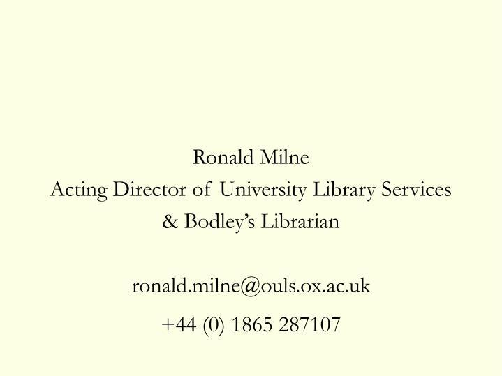Ronald Milne