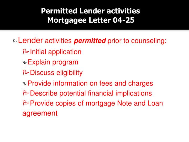 Permitted Lender activities