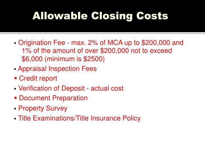 Allowable Closing Costs