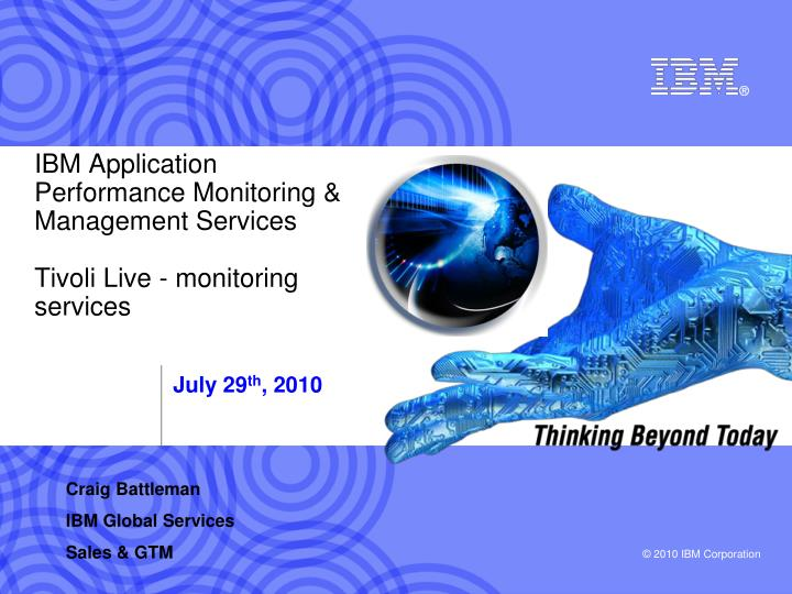 ibm application performance monitoring management services tivoli live monitoring services n.