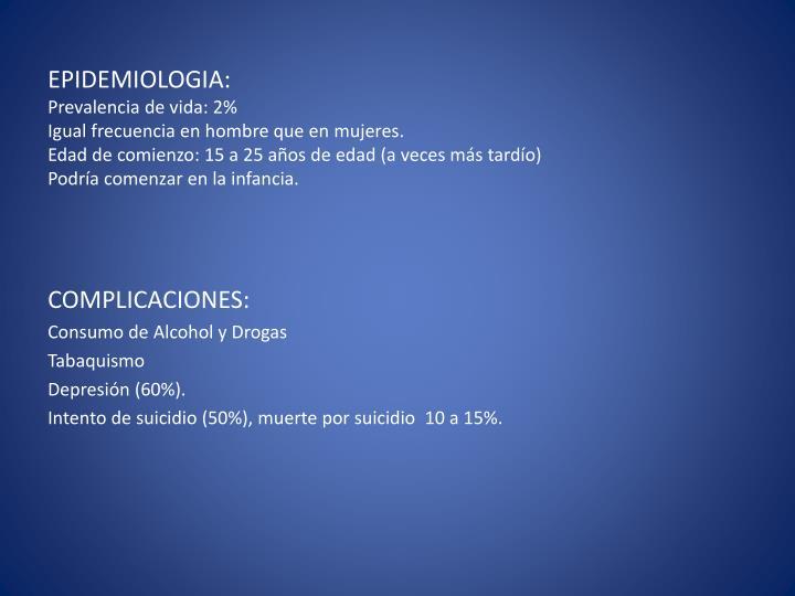 EPIDEMIOLOGIA: