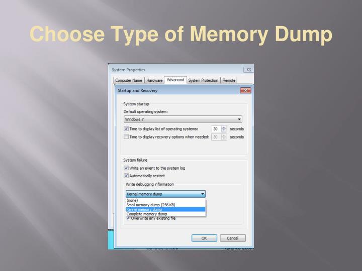 Choose Type of Memory Dump