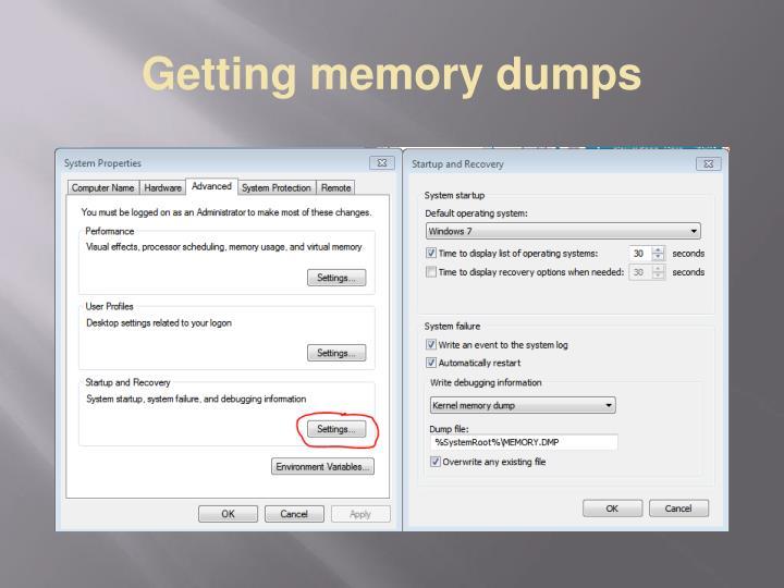Getting memory dumps