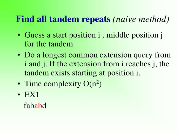 Find all tandem repeats