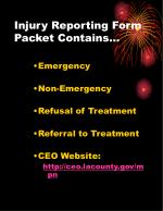 injury reporting form packet contains