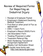 review of required forms for reporting an industrial injury