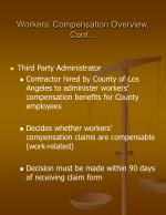 workers compensation overview cont