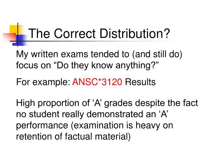 The Correct Distribution?