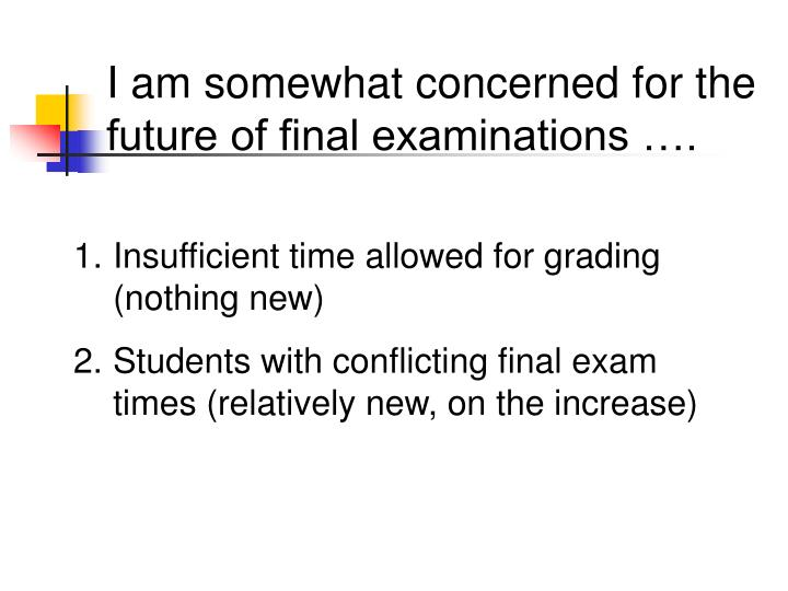I am somewhat concerned for the future of final examinations ….