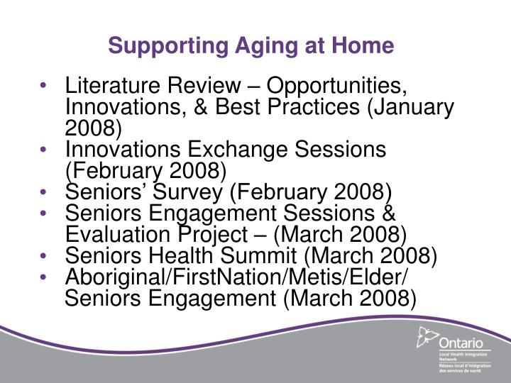 Supporting Aging at Home
