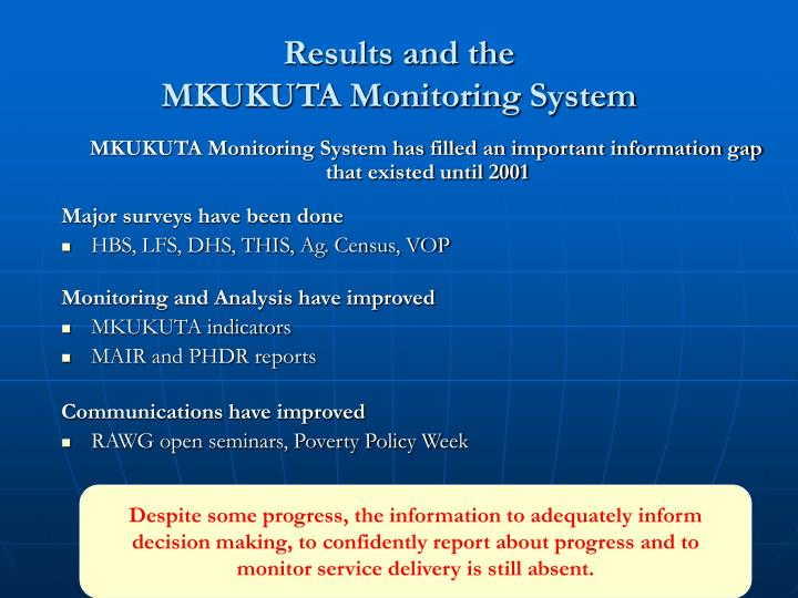 Results and the mkukuta monitoring system