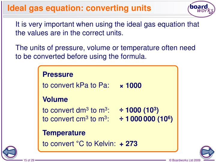 Ideal gas equation: converting units