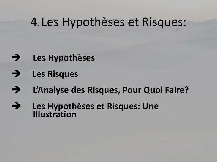 4.Les Hypothèses et Risques: