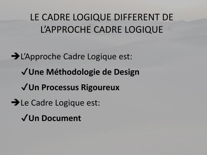 Le cadre logique different de l approche cadre logique