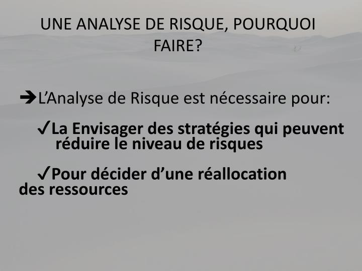 UNE ANALYSE DE RISQUE, POURQUOI FAIRE?