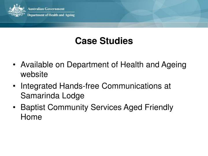 Available on Department of Health and Ageing website