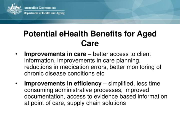 Potential eHealth Benefits for Aged Care