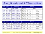 jump branch and slt instructions