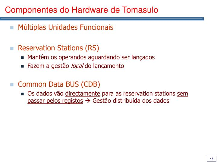 Componentes do Hardware de Tomasulo