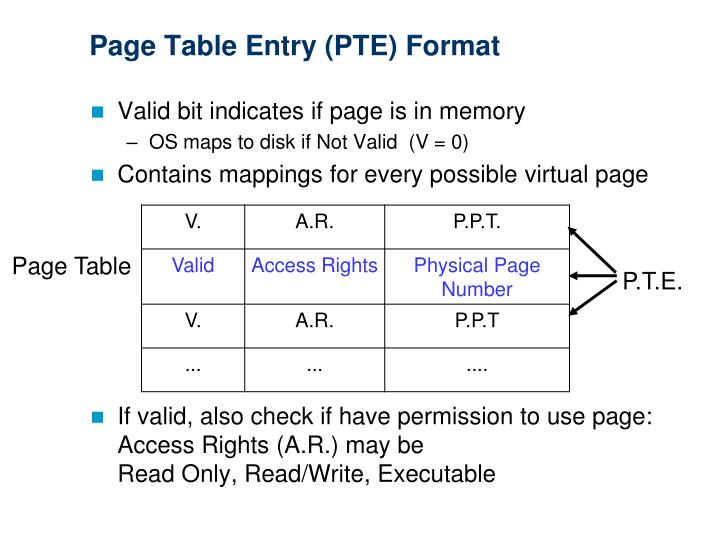 Page Table Entry (PTE) Format