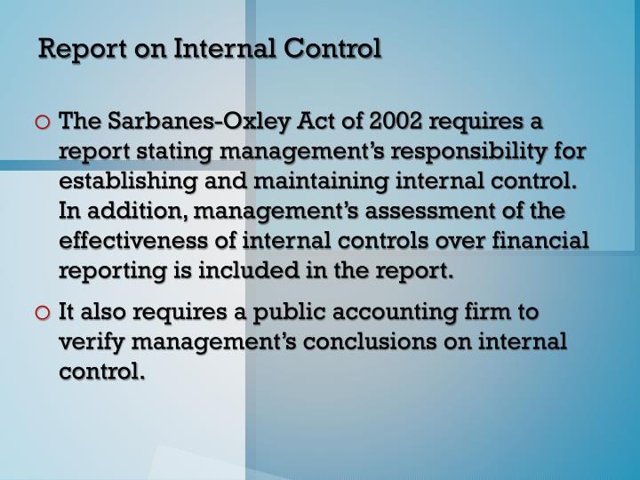 Report on Internal Control