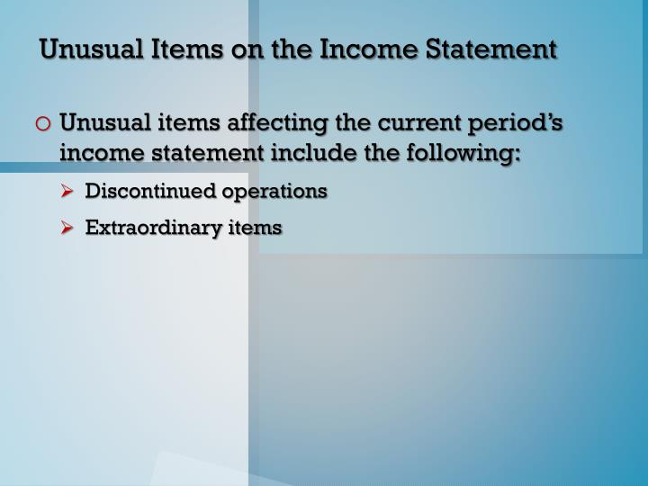Unusual Items on the Income Statement
