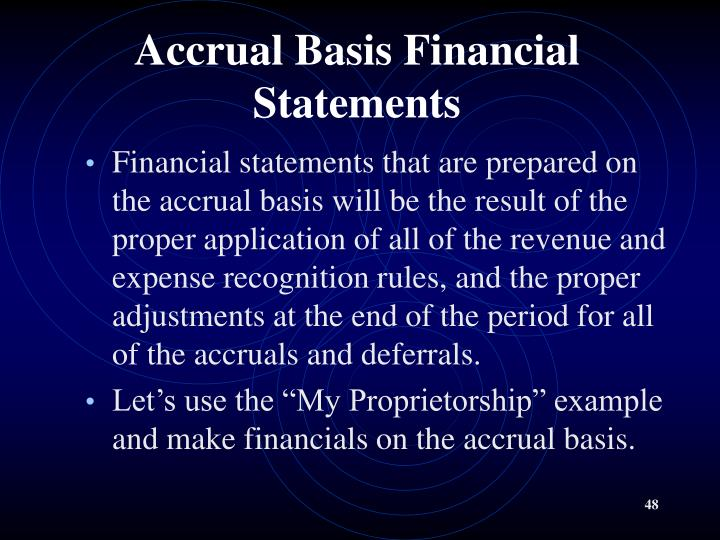 Accrual Basis Financial Statements