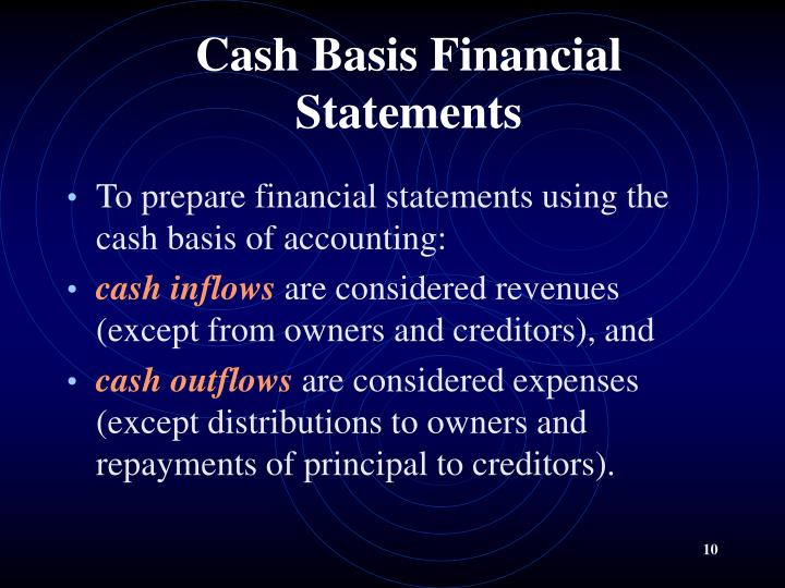 Cash Basis Financial Statements