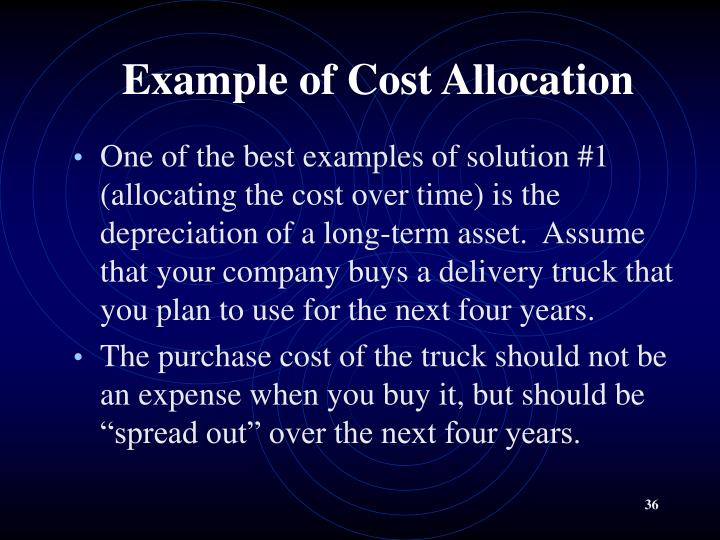 Example of Cost Allocation