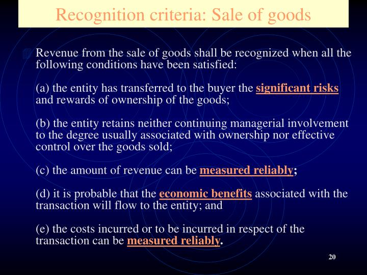 Recognition criteria: Sale of goods