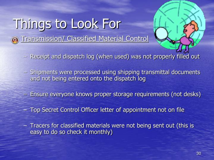 Things to Look For