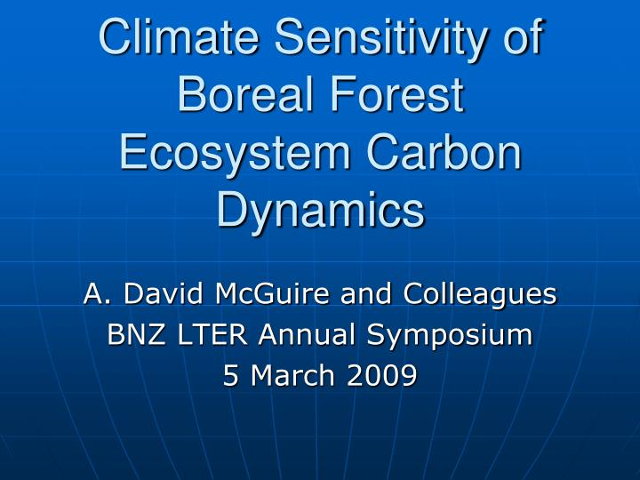 climate sensitivity of boreal forest ecosystem carbon dynamics n.