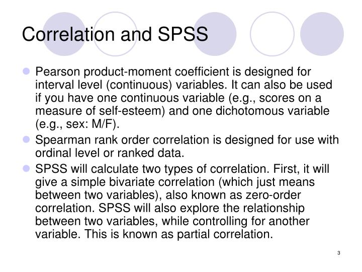 Correlation and spss