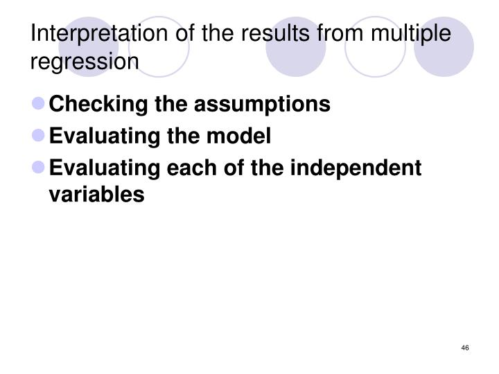 Interpretation of the results from multiple regression