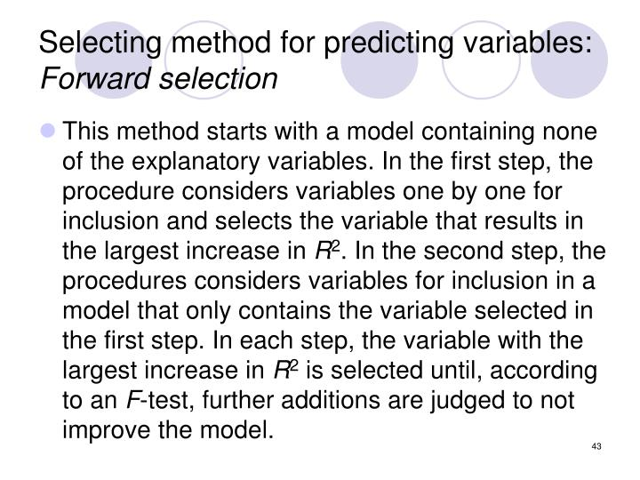 Selecting method for predicting variables: