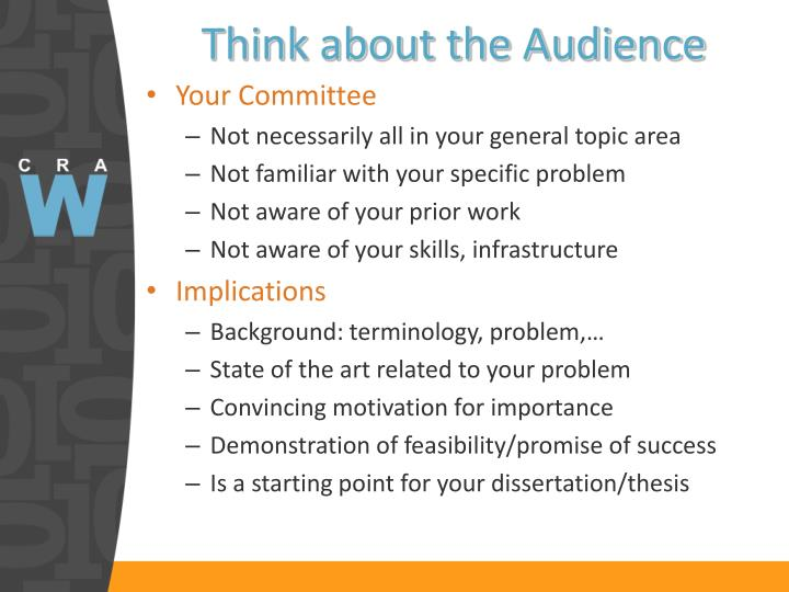Think about the Audience