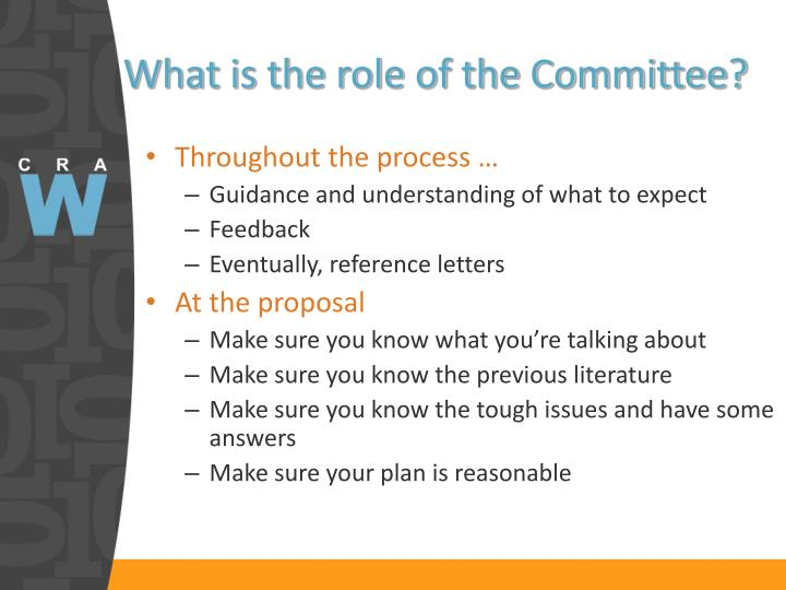 What is the role of the Committee?