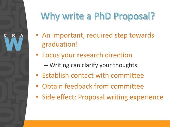 Why write a PhD Proposal?