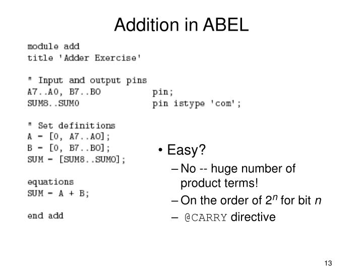 Addition in ABEL