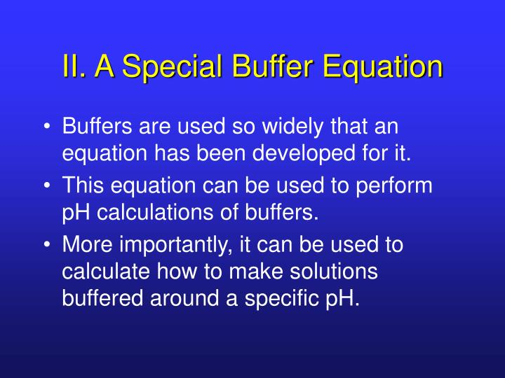 II. A Special Buffer Equation