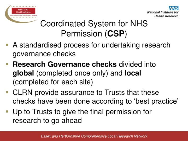 Coordinated System for NHS Permission (